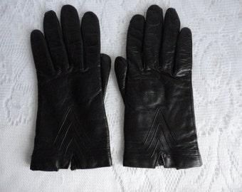 Vintage Black Kid  Lined Shorties Gloves Size 7