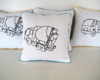 Machine Scatter Cushions, Turquoise Concrete Mixer