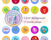 Surfer Girl Digital Collage Sheet - 1.313 Inch Circles for 1 Inch Buttons - Instant Download