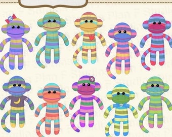 Cute Sock Monkey Clip Art Collection (For Personal Use) - Instant Download