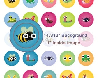 Springtime Critters Digital Collage Sheet - 1.313 Inch Circles for 1 Inch Buttons - Instant Download