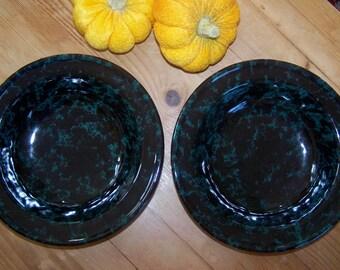 Bennington Potters, Green Black Agate, Soup Bowls, Set of 2, David Gill 1961, Bennington Pottery, Vermont Pottery, Vintage