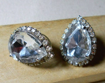 Vintage Rhinestone Earrings 80's Clear Stones Pierced Ears
