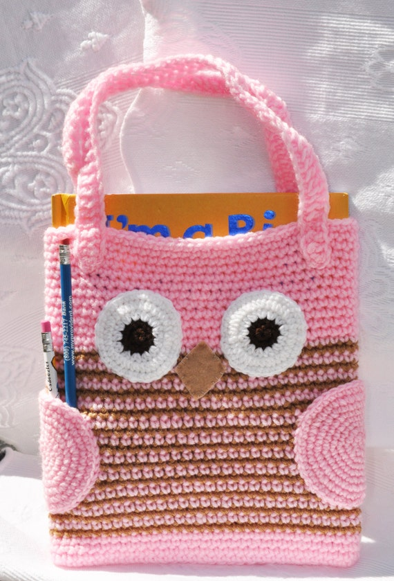 Girly Crochet Owl bag / purse  -  Can be made in other colors - Back to school