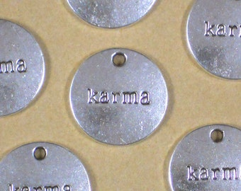 12 KARMA Circle Message Charm Pendants Antiqued Silver (P1365)