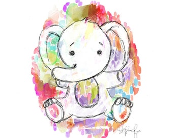 Watercolor Elephant - PRINT