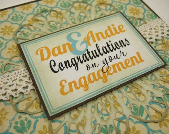 MADE TO ORDER - Personalised Modern Vintage Engagement/Wedding Congratulations Greeting Card