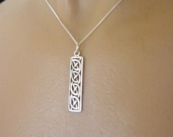 Celtic Knot Bar Necklace, STERLING Silver Necklace, Knot Necklace, Celtic Jewelry, Celtic Necklace, Irish Jewelry, Irish Pendant
