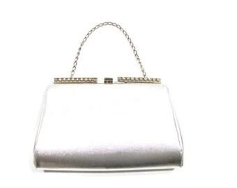Vintage Silver Rhinestone Detail Clutch Silver Clutch With Rhinestones Silver Rhinestone Clutch Silver Clutch Eveing Bag Silver Bag