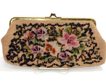Vintage Light Pink Woven Beaded Clutch Vintage Tapestry Purse Vintage Beaded Clutch Purse Vintage Needlepoint Purse Vintage Beaded Clutch