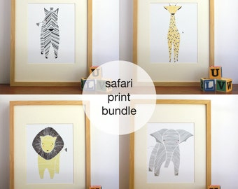 Safari Nursery Art, Gender Neutral Baby, Animal Prints, Elephant, Giraffe, Zebra, Jungle Nursery, Childrens Wall Decor, Kids Art, Set of 4