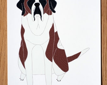 St. Bernard Wall Art, St. Bernard Illustration, St. Bernard Print, Dog Illustration, Dog Portrait, Pet Portrait, Personalized Pet Print