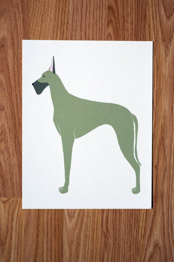 Great Dane Illustration  - FREE US SHIPPING