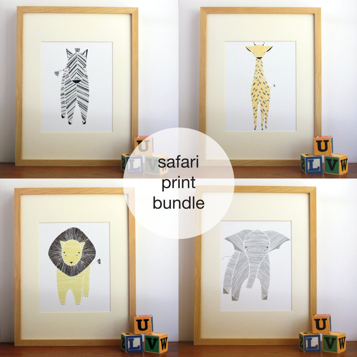 Safari Nursery Decor Jungle Theme Nursery Nursery Artwork: Safari Nursery Art Gender Neutral Baby Animal Prints