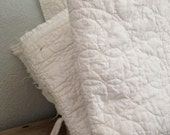 Vintage Quilt - All White Vintage Quilt - Cutter Quilt - Free Shipping