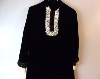 Velvet little black dress, ascot dress, maid costume style party frock