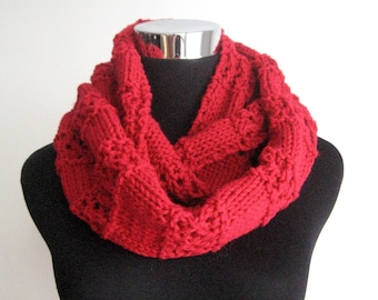 The Stacey Scarf, Cherry Red Lace Striped Knit Infinity Scarf, Red Knit Circle Scarf, Cowl Scarf, Vegan Knit Scarf Infinity Cowl