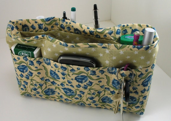 Purse Organizer - Blue Flowers/Green and White Stars  Bag Organizer - Medium - Ready to ship