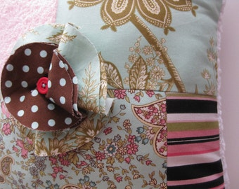 "LAST ONE Patchwork Pillow Amy Butler Fabrics Decoration Large ""Chic Boutique"" One of a Kind"
