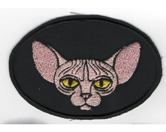 Sphynx Cat Machine Embroidered Patch - You Pick the Colors Hairless Sphynx or Peterbald Kitty in Oval