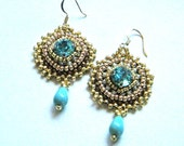 Bead embroidered golden earrings with turqoise Swarovski and turqoise drop