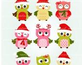 Owl clip art, christmas clip art, Christmas Owls , x mas clip art, instant download