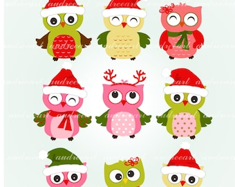 Christmas Owl Clip Art // Christmas Clip Art.Christmas Owl Clipart,Christmas Clipart,Christmas Woodland Clipart,Owl Clipart,Instant download