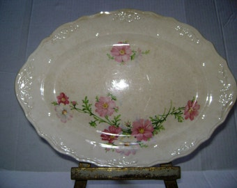 Vintage Pink Floral Platter, Pink Shabby Chic Cottage Decor Plate, Scalloped Edged Beautiful, Antique, Daisy Cosmo Flowers, Creamy, Reduced
