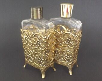 Vintage Ormolu Perfume Bottle Set, Dresser Set, Vanity Decor, Bedroom Decor, Womens Accessories, Decorative Perfume Bottles