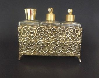 Antique Vintage Perfume Bottle Set Ormolu Atomizer anity Dresser Bedroom Decorative Decor