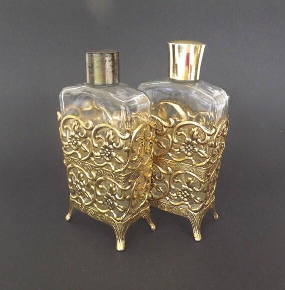 Vintage Ormolu Perfume Bottle Set Dresser Set Vanity Decor