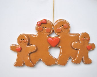 Personalized  Gingerbread Family of 4 Christmas Ornament, family of four, family ornament , gingerbread ornament