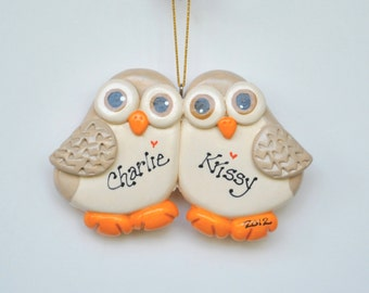 Personalized Owl Couple Christmas Ornament/ BFF / Couples / First Christmas