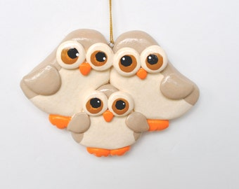 Personalized Owl Family of 3 Christmas Ornament