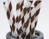 25 Chocolate Brown Stripe Paper Straws - Perfect for Parties - Favors--Free Editable DIY Tags PDF