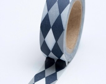 Washi Tape - 15mm - Black and Grey Argyle Pattern - Deco Paper Tape No. 703