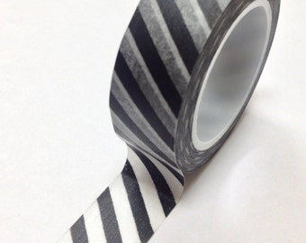 Washi Tape - 15mm - Black and White Diagonal Stripes - Deco Paper Tape No. 791