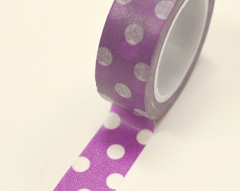 Washi Tape - 15mm - Large White Polka Dots on Purple - Deco Paper Tape No. 860