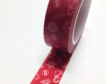 Washi Tape - 15mm - White Christmas Trees Ornaments on Red - Deco Paper Tape No. 572