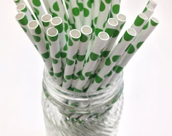 50 Grass Green Dot Paper Straws - Perfect for Parties - Favors--Free Editable DIY Tags PDF