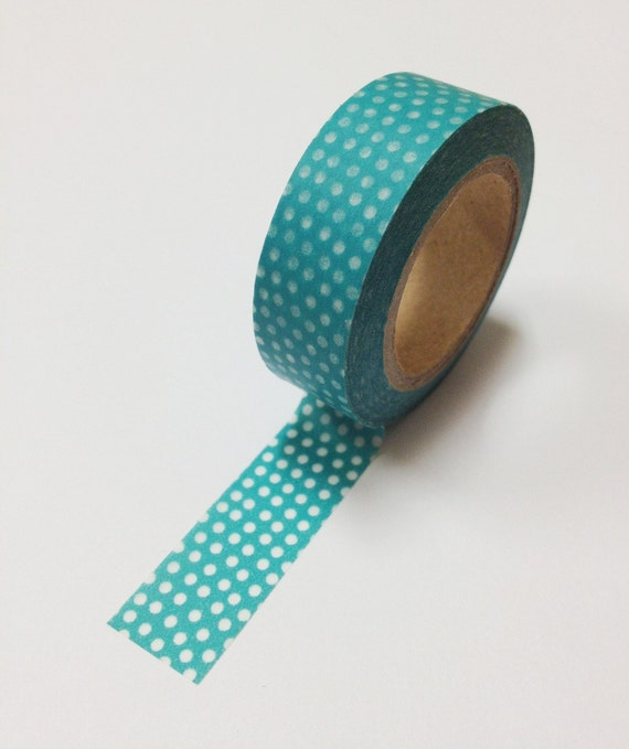 Washi Tape - 15mm - White Dots on Teal - Deco Paper Tape No. 520