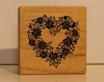 Botanical Floral Rose Heart Wreath rubber stamp PSX
