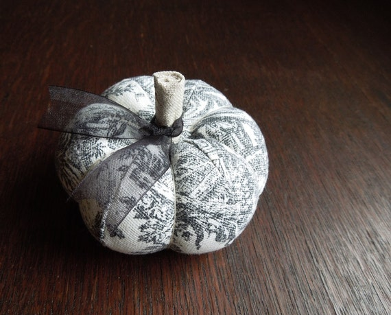 Handmade Black and White Toile Pumpkin Pincushion