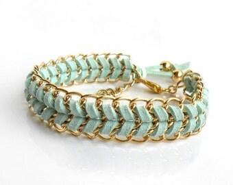 Mint Gold Bracelet / Leather Chain Chevron Bracelet / Gold Chain Pastel Fashion Cuff / Friendship Bracelet Stacks Bridesmaid Gift for Her