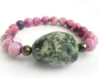 Gemstone Bracelet / Yoga Beaded Bracelet / Pyrite, Green Moss Jasper, Purple Pink Agate / Tribal Chic Bohemian Bracelet / Gift for Her
