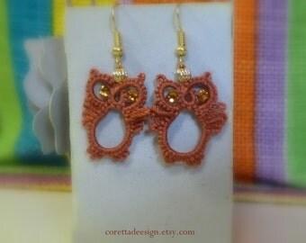Owl Earrings Handmade in the art of Tatting