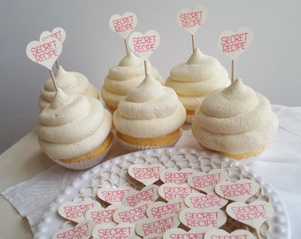 50 Mini Heart Secret Recipe Cupcake Toppers or Food Picks