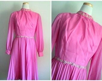 Vintage 1960's Pink Dress // Accordion Pleat Long Sleeve Semi Formal Dress
