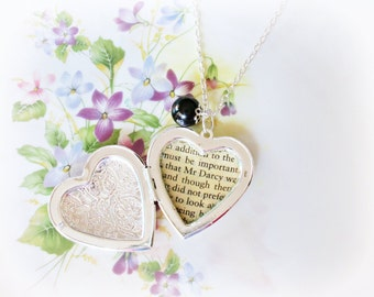 Jane Austen Locket Heart Necklace. Pride and Prejudice Mr Darcy Jet Black Glass Pearl. Upcycled Classics Personalized. Jewellery Jewelry