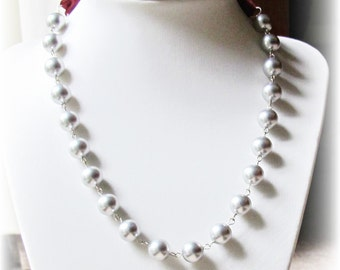 Swarovski Crystal Pearl Necklace Silver Grey Ribbon Bridal Wedding Jewelry Jewellery Two Cheeky Monkeys Handmade Bridesmaid For Her Elegant